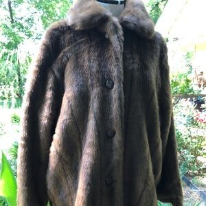 Tudor Court by Haband Brown faux dyed mink coat XL